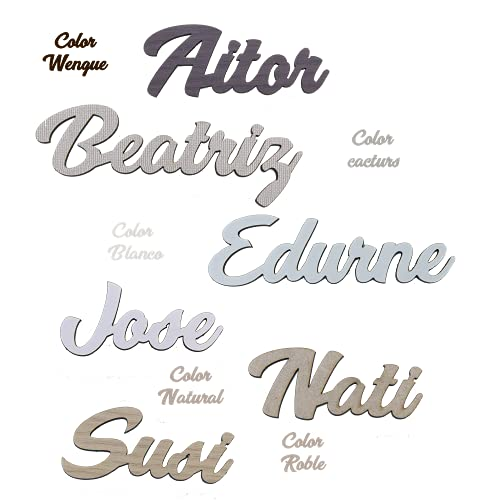 Nombres de Madera Decorativos Personalizados, Marcasitos para Bodas, Comuniones, Bautizos, Cumpleaños.Decoración para el hogar. Regalo para invitados. Pack 6 unidades. 🔥