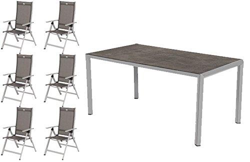 Hartman Gartenmöbel Set Trinidad aus Alu 6 Klappsessel + Tisch Spraystoneplatte