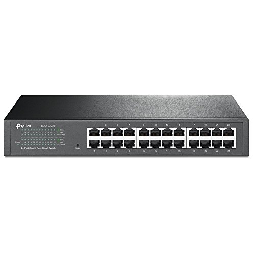 TP-Link TL-SG1024DE - Gigabit Ethernet Switch de 24 puertos (Unmanaged Pro switch, Plus no gestionado, Plug and Play, Escritorio, Montaje en Bastidor, Metal, sin Ventilador, Vida Útil Limitada)