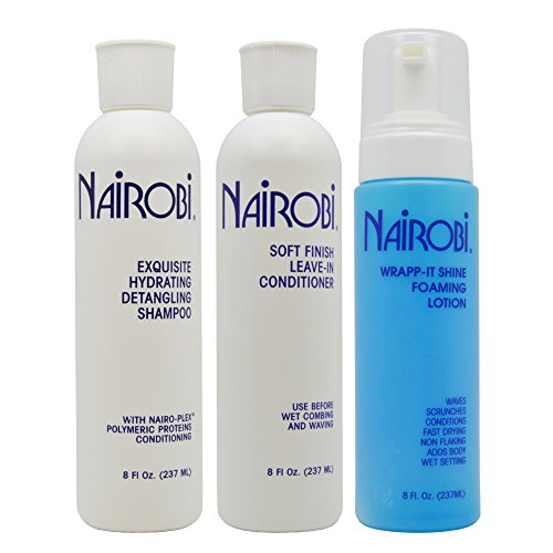 "Nairobi Exquisite Hydrating Detangling Shampoo, Soft Finish Leave-in Conditioner, Wrapp-it Shine Foaming Lotion 8oz ""SET"""