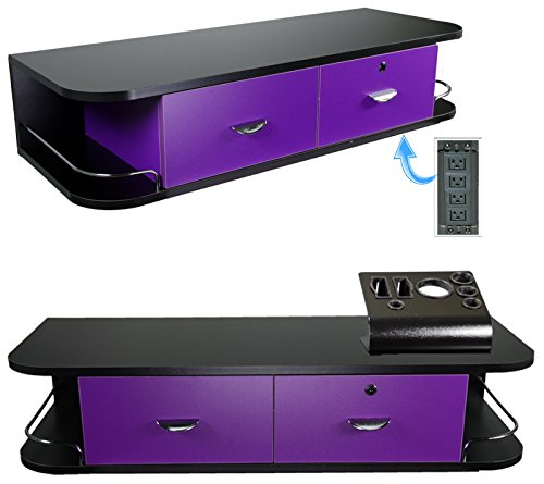 LCL Beauty Purple Locking Wall Mount Styling Station with Black Metal Tabletop Appliance Holder & 4 Port Power Strip