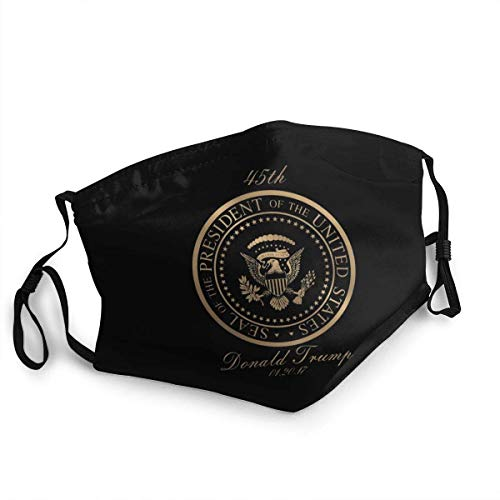 Washable Reusable Face Mask Cover Donald Trump Gold Seal - 45th President Dust Cover Sports Face Cover Bandana for Adults and Kids, Made in USA