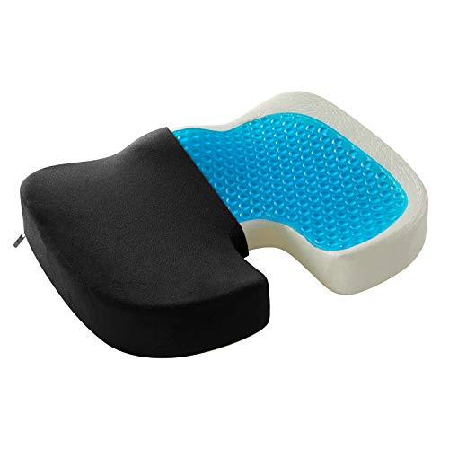 WOLTU Orthopädisches Sitzkissen mit Gel, Hämorrhoiden-Sitzkissen, Memory Foam Stuhlkissen zur Steißbein-Entlastung für Büro, Home Office, Rollstuhl, Druckentlastend, Schmerzlindernd