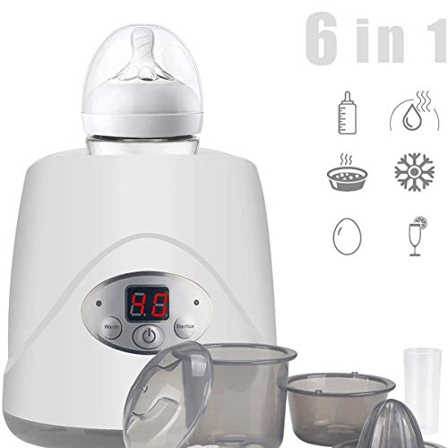 Uhruolo 6 in 1 Double Bottle Baby Bottle Warmer, Baby Bottle Warmer Steam Sterilizer with LED Display, Best Gift for Family
