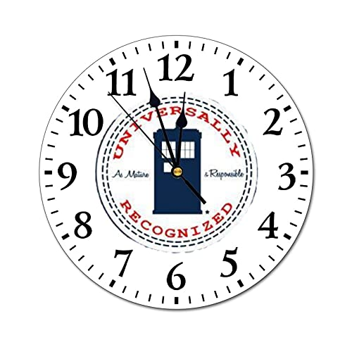 XMbeirui Redonda Digital Creativo Reloj Moderno De La Moda De PVC Silencioso De La Pared De La Sala De Sala De La Oficina De La Decoración Del Hogar Doctor-who-converse-logo-con-cita