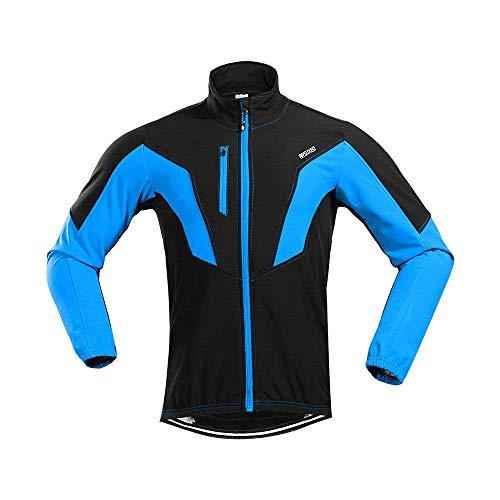 D. stile da ciclismo uomo giacca a maniche lunghe in pile antivento MTB S–2X L, Uomo, Blu, M
