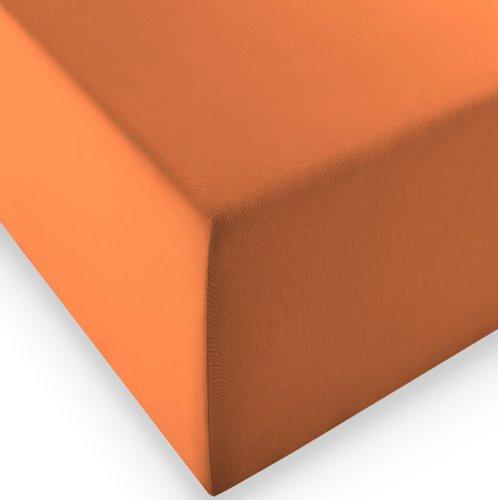 sleepling Komfort Jersey-Elastic Stretch Spannbettuch Spannbettlaken für Matratzen bis 30 cm Höhe (215 gr. / m²) mit 3% Elastan 180 x 200-200 x 220 cm, orange