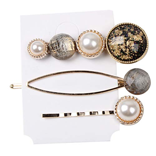 Niumanery 1 Set Luxury Vintage Side Bangs Hair Clip Candy Colorful Jewelry Beaded Hairpins Imitation Pearl Night Party Barrettes 17 Styles 10#