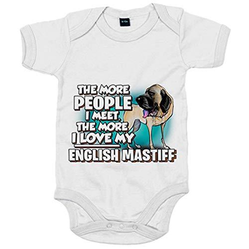 Body bebé I love my English Mastiff Mastín raza perro - Blanco, Talla única 12 meses