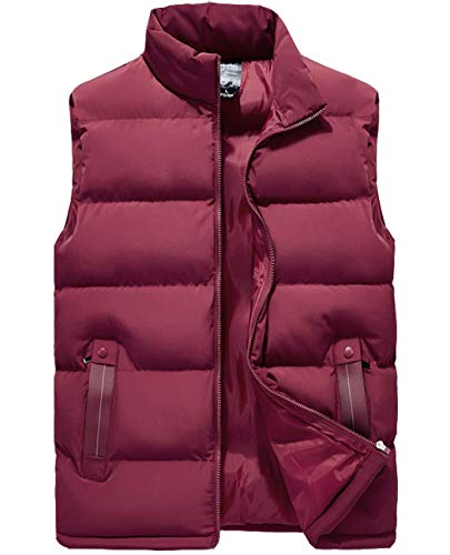 Vcansion Men's Outdoor Casual Classic Quilted Vest Heavy Weight Puffer Vest Wine Red US M/Asian 2XL
