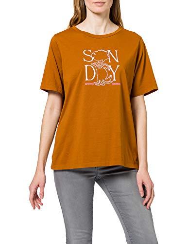 Scotch & Soda Maison Damen Grafik aus Bio-Baumwolle T-Shirt, 0634 Spice, L