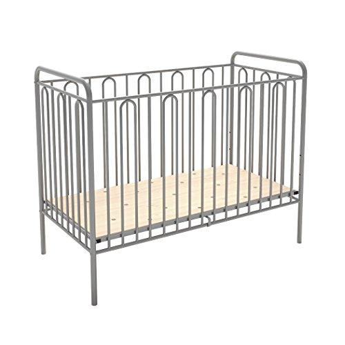 Babybett Gitterbett Kinderbett aus Metall Polini Vintage 110 silber 120 x 60 cm