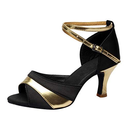 Luckycat Zapatos de tacón Alto de Baile de Salsa Latina para Mujer Rumba Zapatos de Baile de salón de Baile de vals de Vestir 7cm