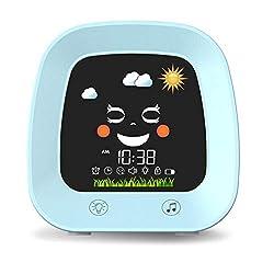 Kids Alarm Clock for Kids, Children's Sleep Trainer Clock with 4 Color Toddler Night Light, Sleep Sound Machine, NAP Timer, Snooze, Digital Wake up Light Alarm Clock for Boys Girls Bedroom