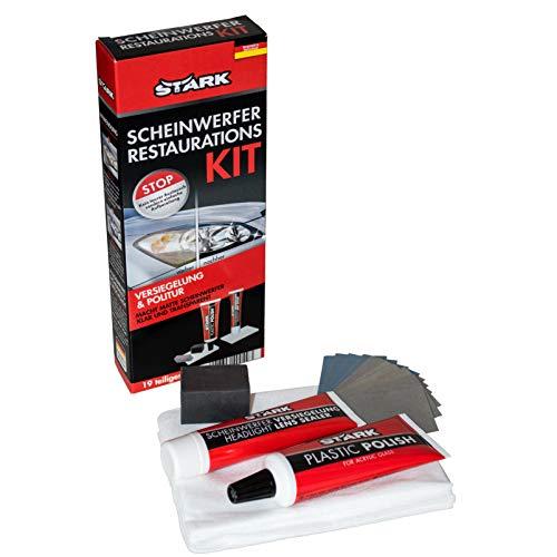 Scheinwerfer Restaurations Kit, Versiegelung und Politur, 19 teiliges Set. Macht Matte Scheinwerfer klar und transparent