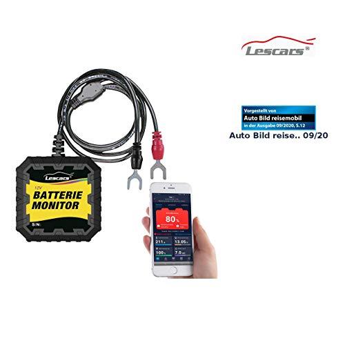 Lescars Batterie Monitor: Kfz-Batterietester und -Wächter für 12 Volt, mit Bluetooth & App, IP65 (Batterieanzeige)
