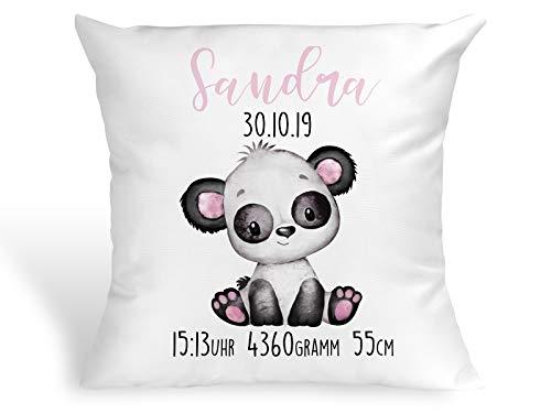 Tachinedas Kreativshop Personalisiertes Kissen mit Panda Bärchen Geschenk zur Geburt oder Taufe mit Namen und Datum Mädchen Bär