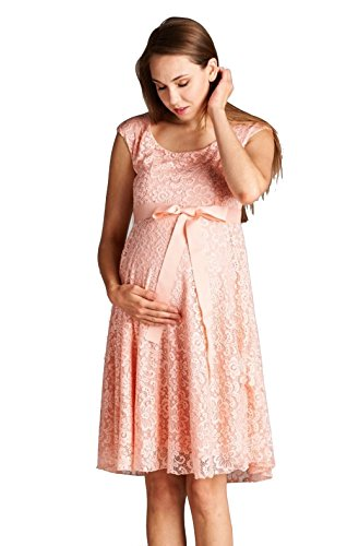 LaClef Maternity Floral Lace Baby Shower Party Cocktail Dress with Satin Waist (Small, Peach)