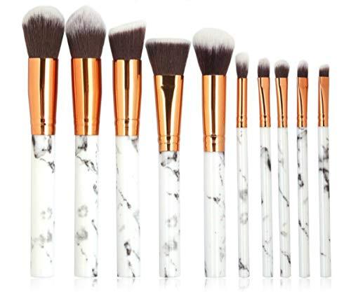 10 Pcs Maquillage Brosse Ensemble Multifonctionnel Fard À Paupières Poudre Fondation Lèvre Eyeliner Blush Marbre Maquillage Brosse Outils En Bois Poignée