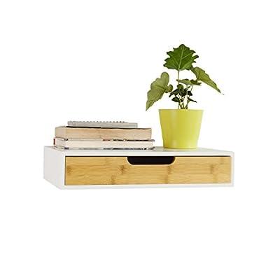 Material: MDF y bambú. Dimensiones: L40cm x P24cm x H8cm. Dimensiones interiores del cajón: L35,5cm x P20cm x H4,6cm. Capacidad máxima: 5 kg. Peso: 3 kg Esta estantería de pared de moda de bambú blanco y natural, ya sea en el baño, oficina, sala de e...