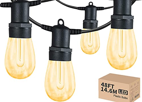 Utomhus ljusslinga LED, 14,5 m kommersiell kvalitet IP65 vattentät ljusslinga, 15 hängande uttag med 15 + 1 st 1 W plast LED-glödlampor, varm vit, trädgårdsbelysning för bröllop jul