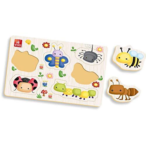Brinquedo Pedagógico Madeira Ache Encaixe Insetos, Brincadeira De Criança, Multicor