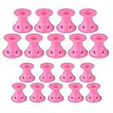 Jurxy - Set de 40 rulos de silicona para el pelo de color rosa magia, sin calor, para pelo largo y corto, 20 tamaños y 20 pequeños