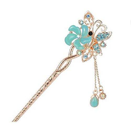 Style classique Épingle à cheveux Pendentif en métal Décoration de cheveux, Bleu