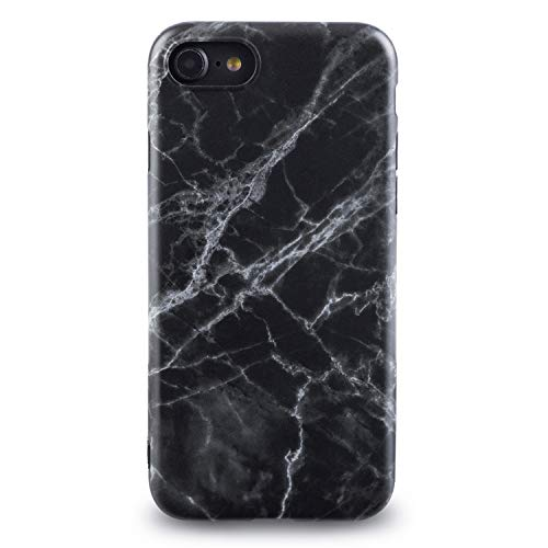 Oveo® für iPhone 7/8 Hülle, Slim Fit Silikon Handyhülle mit Matt Schwarz Marmor Muster