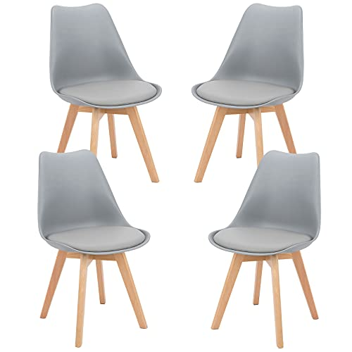 BlueOcean - Juego de 4 sillas de comedor, patas de madera maciza, diseño retro, sillas de diseño clásico, de piel sintética, asiento acolchado acolchado para el hogar, cocina, cafetería y oficina