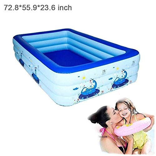 Inflatable Swimming Pool, Hildren's Air Mattress Home Swimming Pool Thick Marine Ball Pool for Outdoor Garden, Backyard Summer Water Party, 72.8 * 55.9 * 23.6 Inch DYWFN