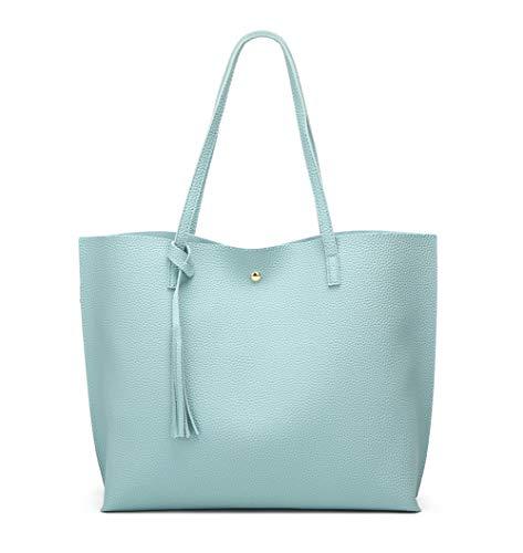 Women's Soft Faux Leather Tote Shoulder Bag from Dreubea, Big Capacity Tassel Handbag Light Blue