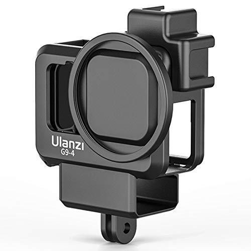 Kit de jaula de vídeo de plástico anti-caída apto para Gopro Hero 9, funda de montaje en zapata fría Vlog carcasa protectora marco con puerto adaptador de filtro de 55 mm