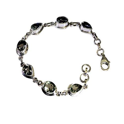 Jewelryonclick - Pulseras ovaladas de Plata Amatista para Mujer, Diseño de Garra de Langost