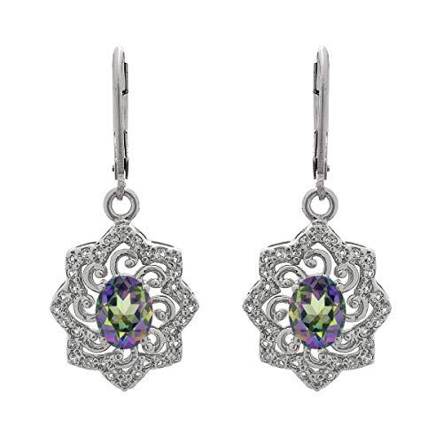 Ronda de opción múltiple Forma de piedras preciosas de plata de ley 925 Desgaste de fiesta plateado Solitario Floral Pendientes Acentos (Topacio místico)