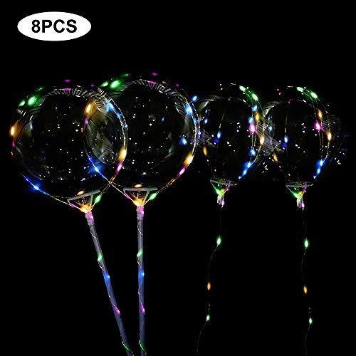 Vegena Helium Ballons,8 Stück 20 cm LED Licht Ballons Gas Leucht Luftballon,LED Lichter Bunte BoBo Luftballons,Perfekt für Valentinstag,Party, Jahrestag Feierlichkeiten, Hochzeit, Weihnachten