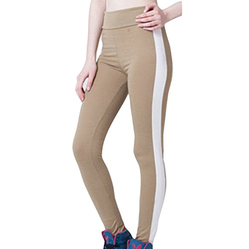 Yying Donna Leggings Tights Push Up Pantaloni Yoga Donne Pantaloni Sportivi Vita Alta Patchwork in Pelle Pantaloni Jogging Fitness Elastici Leggins