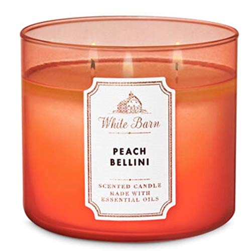 Bath and Body Works White Barn 3 Wick Scented Candle Peach Bellini with Essential Oils 14.5 Ounce