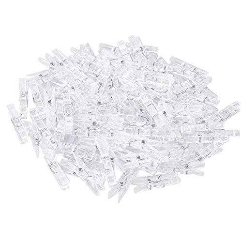 100 Clips de Mini Transparentes de plástico Multiuso de Papel, Clips, Clips de Pinza de Ropa para Tender la Ropa, Clips de Fotos, Clips de plástico Transparente