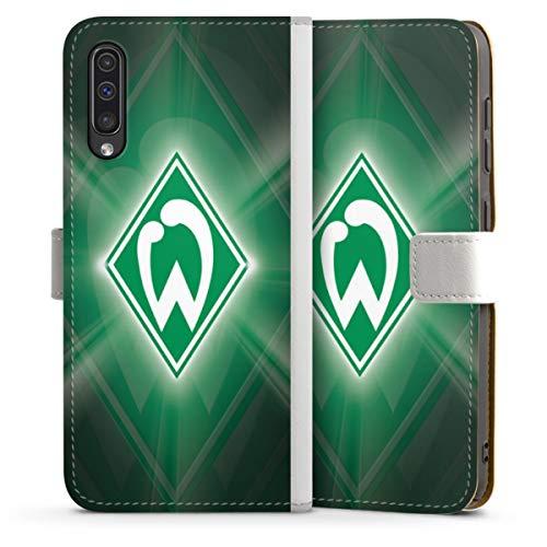 DeinDesign Klapphülle kompatibel mit Samsung Galaxy A50 Handyhülle aus Leder weiß Flip Case SV Werder Bremen Offizielles Lizenzprodukt Wappen