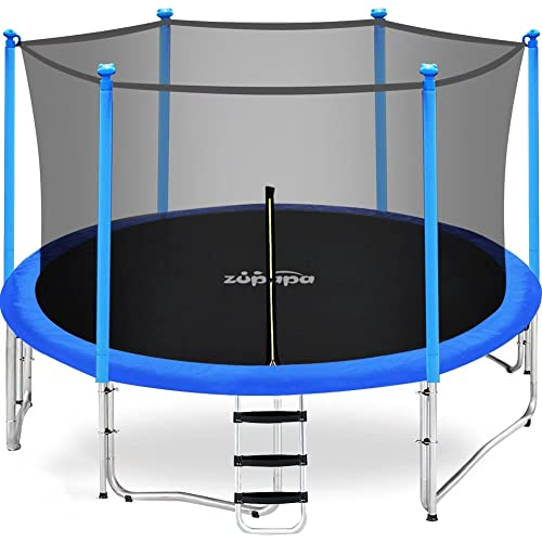 Zupapa 15FT 14FT 12FT 10FT 8FT Kids Trampoline 425LBS Weight Capacity with Enclosure net Include All Accessories Outdoor Backyard Trampoline(12FT)