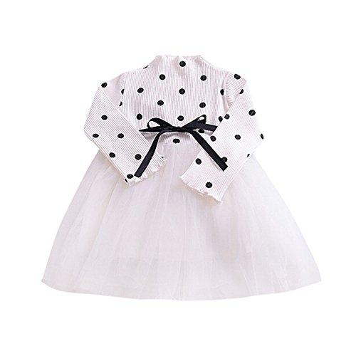 feiXIANG Ropa de bebé recién Nacido Niño niña Bebé niña de Lunares Manga Larga Falda Neta Vestido de Princesa Tutu Ropa Linda Vestido Mini Vestido de Princesa Fiesta de Bodas Chica de Moda