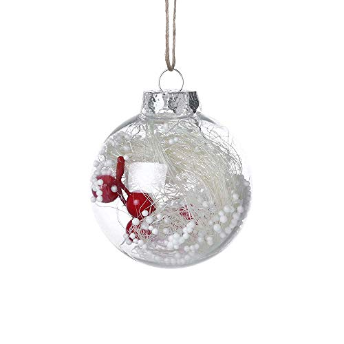 ODJOY-FAN Weihnachten Dekor Ball Dekoration Anhänger 8 cm Innere Ball Weihnachtenbaum Anhänger Hängend Zuhause Ornament Dekoration Ball 8×8×8cm(A,1 PC)