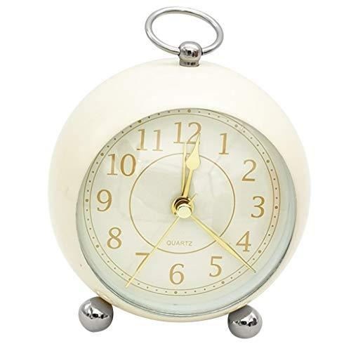 Reloj despertador para decoración del hogar, reloj de noche, silencioso, cuarzo, analógico, funciona con pilas, no hace tictac, color beige