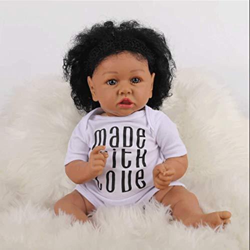 YHNJI Muecas Reborn de 22 pulgadas realistas de silicona suave para nias muecas de renacimiento negro mueca beb aspecto real beb renacido