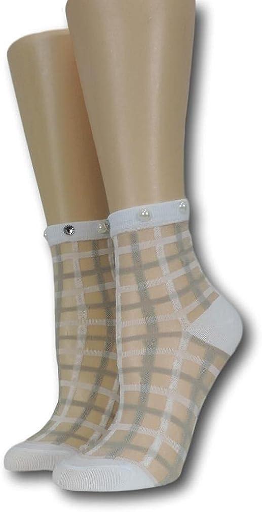 White Vintage Sheer Socks with beads100% Nylon Sheer Socks - Breathable and Lightweight Summer Ankle Socks for Women