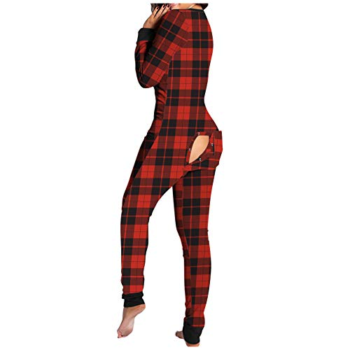 XSZ Pyjama Langarm Schlafanzug Sexy Button Down Jumpsuit Mit Funktionale GeknöPfte Klappe, LangäRmliger Bodysuit Overall Bodycon Romper NachtwäSche Women's Jumpsuit, Onesie
