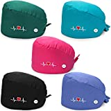 SATINIOR 5 Pieces Bouffant Cap with Buttons Unisex Sweatband Adjustable Tie Back Hat (Black, Blue, Lake Blue, Rose Red, Dark Green)