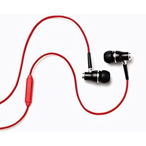 Symphonized NRG Premium Genuine Wood in-Ear Noise-isolating Headphones with Mic and Nylon Cable (Red)