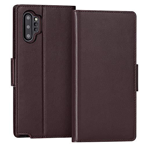 Capa de Celular FYY, Bloqueio RFID, Suporte, Compartimentos para Cartão, Couro, Compatível com Samsung Galaxy Note 10 Plus - Marrom